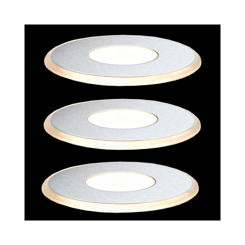 paulmann laminat einbauleuchten set edelstahl satin updownlight 3x1 w. Black Bedroom Furniture Sets. Home Design Ideas