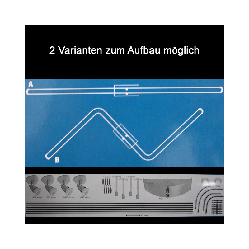 Schienensystem Halogen 4er Spot Deckenlampe 4x35W Deckenleuchte Lampe Strahler 3662