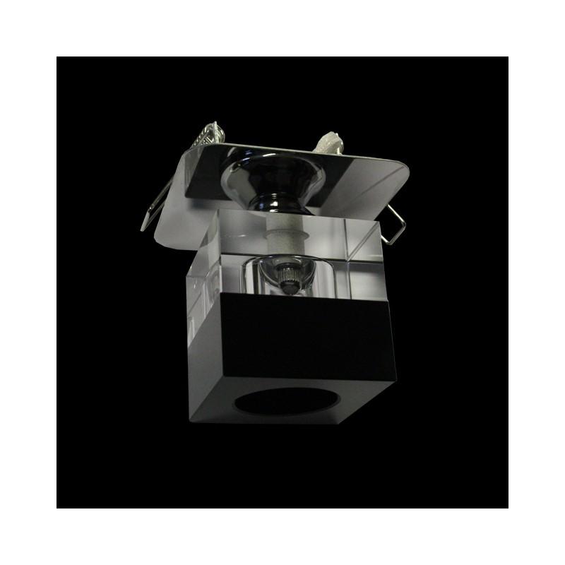 W rfel einbauleuchte glas eckig schwarz klar einbau for Glas beistelltische eckig