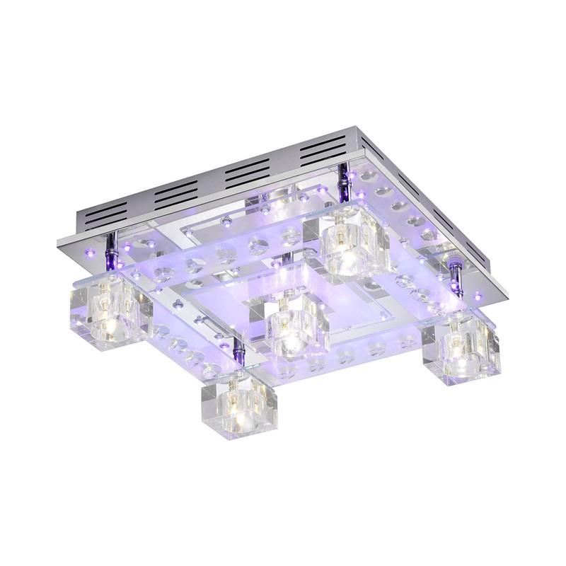 Design LED Deckenleuchte Chrom mit Fernbedienung getrennt schaltbar,