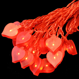 Hartig + Helling 98162 Deko LED Lichterkette 10m Herz Rot, 20 Herzen, Party light-chain heart