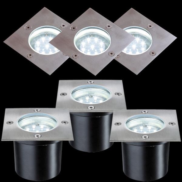 Paulmann LED Boden Einbauleuchte IP65 3x1,2W Edelstahl ECKIG 988.76 - 98876 Edelstahl