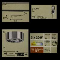 Paulmann 935.06 Möbel Aufbauleuchten CHROM 3x20W G4,...