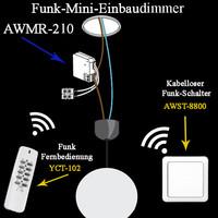 200W Mini Funk Einbaudimmer AWMR  210  Funk Dimmer...