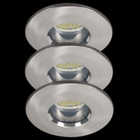 3 x 3,5W LED Aluminium Einbau Spots Eisen gebürstet...