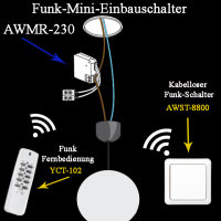 Mini Funk Einbauschalter AWMR-230, 433,92 MHz...