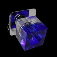Einbauleuchte Kristall Glas Würfel BLAU - KLAR...
