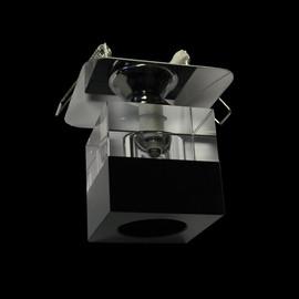 Würfel Einbauleuchte Glas eckig, SCHWARZ - KLAR  Einbau Ø 50mm - max.60mm