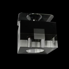 Würfel Einbauleuchte Glas, SCHWARZ - KLAR - QUADRAT Einbau Ø 50mm - max.60mm