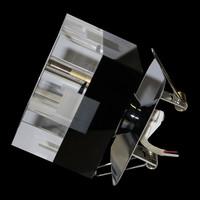 3er-Set Kristall Einbauleuchten SCHWARZ Glas...