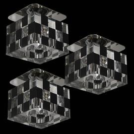 Edle Würfeleinbauleuchten Set Glas Einbaustrahler Kristall Klar 5x20W Deckenspot