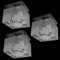 Kristall Würfeleinbauleuchten 3er-Set Glas...