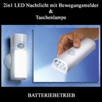 2in1 LED Nachtlicht Notlicht BEWEGUNGSMELDER TASCHENLAMPE...