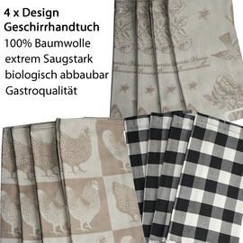 4 Design Deco Geschirrtücher 100% Baumwolle 65 x 65cm Schwarz-Weiß Karo Landhaus - Rosen