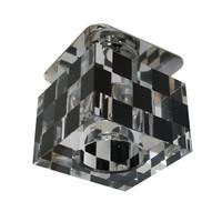 Kristall Spot Crystal Einbaustrahler Einbauleuchten SCHWARZ WEISS KARO Glas  G4 12V