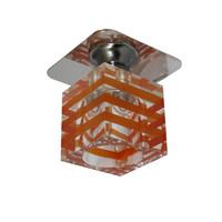 Kristall Spot Einbaustrahler Crystal Einbauleuchten Deckenleuchte KLAR-ORANGE Glas  G4 12V