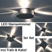 3er Set MINI LED Sternenhimmel ALU Einbauleuchten...