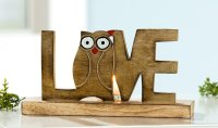 Holz Deco Teelichthalter von GILDE Eule Love 25cm Leuchter