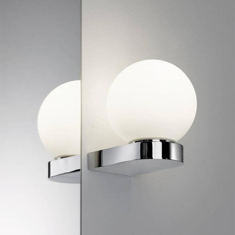 Spiegelleuchte Glas SATIN 704.93 BHARANI Wandleuchte CHROM Spiegellampe  Wandlampe Bad Flur Diele