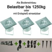 3er Set LED Bodeneinbauleuchten Belastbar bis 1250kg...