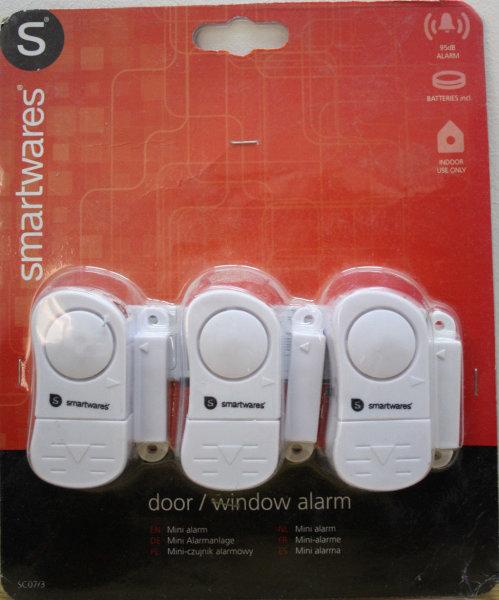 SMARTWARES SC07/3 Fensteralarm Türalarm Mini Alarmanlage door window alarm 95dB