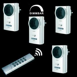 4 Funk Steckdosen SILBER dimmbar DIMMER 1 Fernbedienung Funkschalter Steckdosen