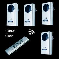 4 Funksteckdosen 3500W SILBER Fernbedienung Funk Stecker...