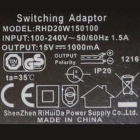 Netzteil RHD20W150100 Gegensprechanlage 15V - 1000mA - 1A Steckernetzteil Trafo