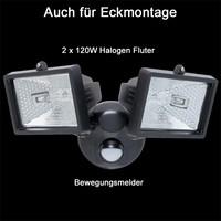 Doppel Halogen Aussenstrahler Fluter Bewegungsmelder 2 x...