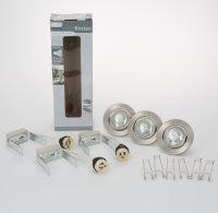 Einbaulampen Set Edelstahl 3 x 50W Halogen Einbauspots 230V ohne Trafo Spots