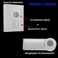 Mobile Haustürklingel Funkklingel mit Blitzlicht -...