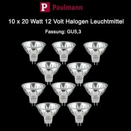 Paulmann GU5,3 Leuchtmittel Halogen Birne Spot dimmbar 20 Watt 10 Stück MR16 12V