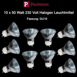 Paulmann 10 x 50 Watt Hochvolt Halogen 230V Reflektor Birnen GU10 dimmbar Spot