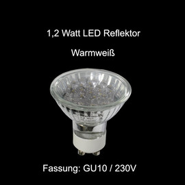 1,2 Watt LED Reflektor  Einbauleuchten Glühbirne GU10 230V  3000K Warmweiß