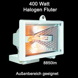 400 Watt Halogen Strahler Fluter Flutlicht Außenstrahler weiß IP54 Hof Lampe