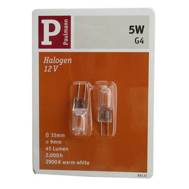 Paulmann 831.21 Halogen Glühbirne 5W dimmbar 2er Set G4 Sockel Stift Draht Fassung