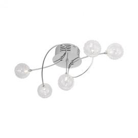 Halogen Deckenleuchte Bubblz chrom Deckenlampe 5armig Drahtkugel
