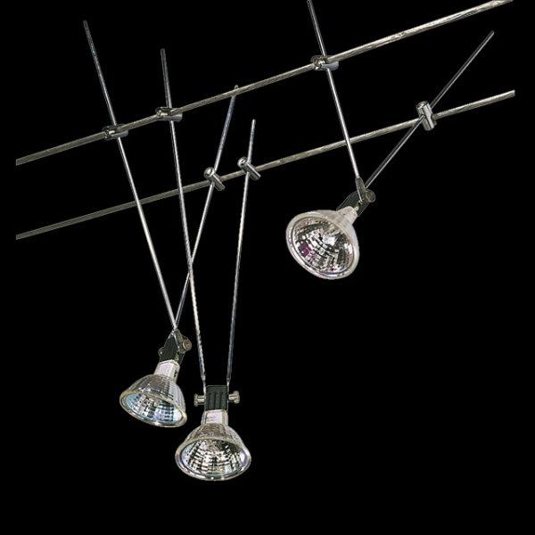 Komplett Seil System Seilsystem 3 X 20W Halogen Spots Strahler Wiresystem Wire