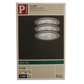 Paulmann 3er Set Möbel Einbauleuchten Micro Line Power LED Chrom matt 983.51 - 98351