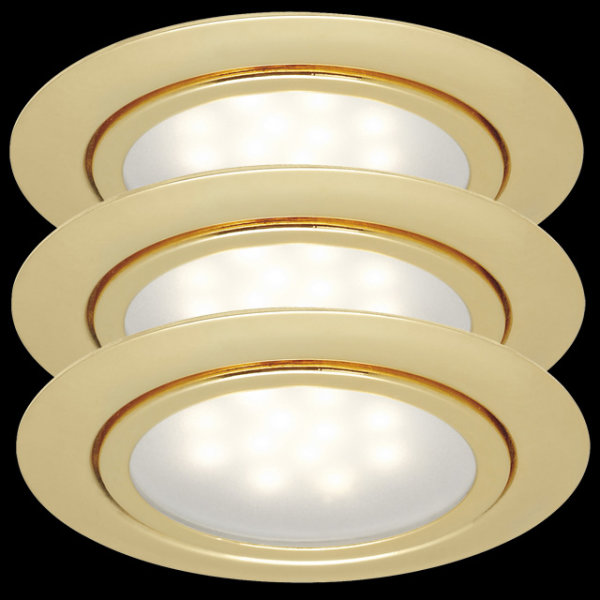 Paulmann LED 3x1W 12V Möbel Einbauleuchten Set Gold 998.13 - 99813