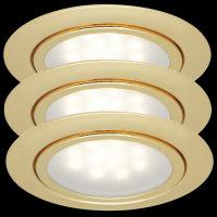 Paulmann LED 3x1W 12V Möbel Einbauleuchten Set Gold...